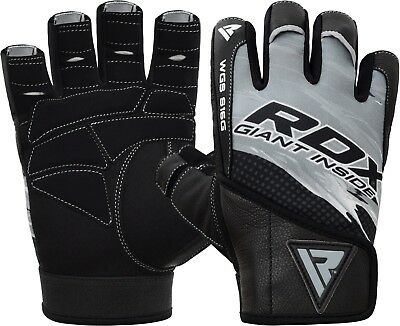 RDX Leather Weight Lifting Gym Gloves Training Fitness Exercise Wrist Support