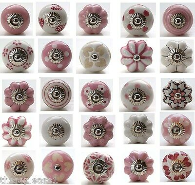 These Please Mixed Pink & White Ceramic Door Knobs Glass Handles Pulls Drawer