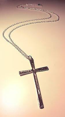 Large Antique Silver Cross Necklace -Vintage Festival Jewellery - Gothic Jewelry