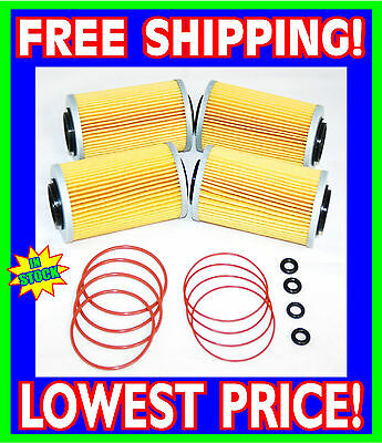 4 Sea Doo 4-TEC Oil Filters & O-Ring Kits RXP RXT GTX GTI RXP-X RXT-X 2002-2012