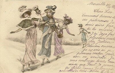 Carte Postale Fantaisie Style Viennoise Femmes Patineuses