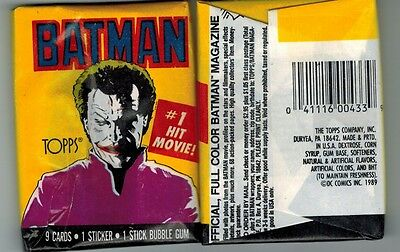 1989 TOPPS BATMAN SERIES 1 UNOPENED TRADING CARD PACK