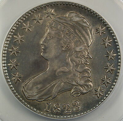1823 Bust Silver Half Dollar, ANACS AU-50 Details, Cleaned Coin