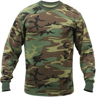 Rothco Woodland Camo Camouflage Long Sleeve T-Shirt