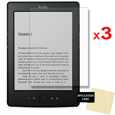 3 x Clear Screen Protector for Amazon Kindle Touch eReader with 6 inch Screen