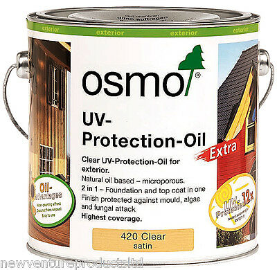 Osmo UV Protection Oil Extra 420 D Clear Satin 2.5 litres - For Exterior Wood
