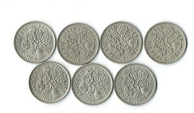 WOW - Set of 7 Very Nice British Sixpence U K QUEEN ELIZABETH Coins 1961 to 1967