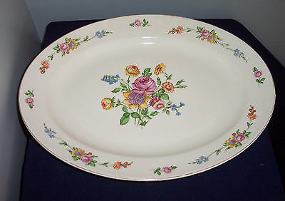 "Pattern Serenade By Edwin Knowles 15 1/2"" Turkey Platter  Pink Yellow Floral"