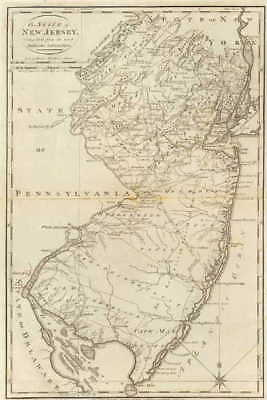 NJ 1795 MAP CAPE MAY CUMBERLAND ESSEX HUDSON COUNTY Old New Jersey History HUGE