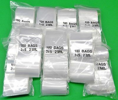 "1000 3x5 Ziplock Bags Reclosable 2 Mil Clear Poly 3"" x 5"" Baggies 1,000 Pieces"