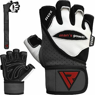 RDX Pro Lift Gel Weight Lifting Body Building Gloves Gym Straps Bar Leather Grip