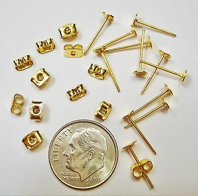 Gold plated 4mm glue on or earring pad pierced earring posts & backs fpe008