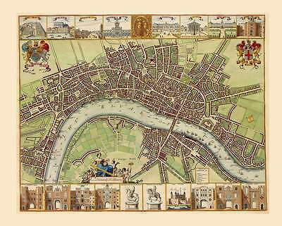 1680s Antique Map City of London Detailed with Landmarks Pictures & Street Names