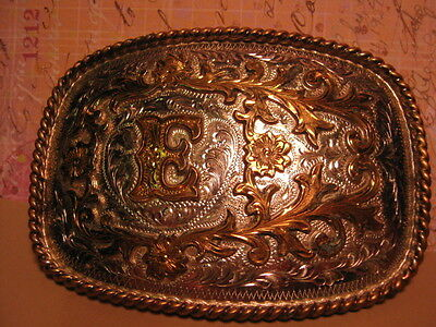 Old Fancy Letter ~E~ Hand Engraved Marked only A Mexico BELT BUCKLE MAKE OFFER