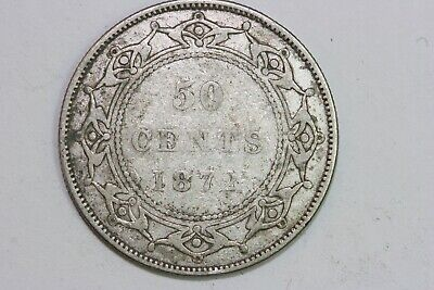 Very Great Condition 1872-H Newfoundland 50 Cents Silver Coin KM #6 - VG NEWF112