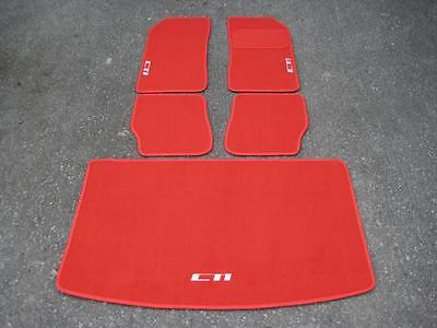 Car Mats in Bright Red to fit Peugeot 205 + CTI Logos in Silver + Boot Mat