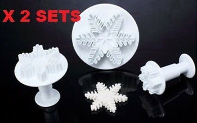 EMBOSSED SNOWFLAKE PLUNGER CUTTERS x 3 FROZEN CAKE SUGAR CRAFT CHRISTMAS TOOLS