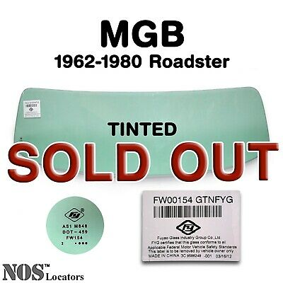 MGB, MGC Roadster 1962-80 TINTED Windshield Glass NEW - PICKUP ONLY