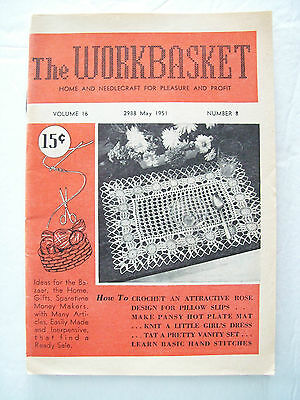 May 1951 Workbasket Knit Crochet Tat Pattern Magazine Pansy Plate Toddlers Dress