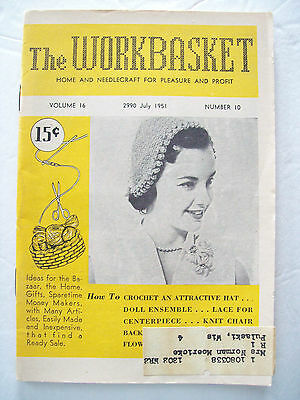 July1951 Workbasket Knit Crochet Tat Pattern Magazine Hat Doll Chair Back Doily