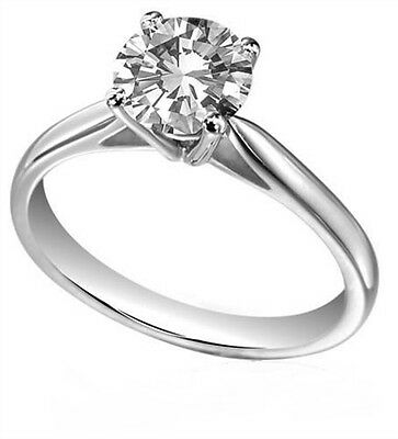 Diamond-Unique Solid Silver Rhodium platinum Engagement Ring 1ct & 1/2 ct