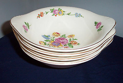 "5 Pattern Serenade By Edwin Knowles 6 7/8"" Bowls Tab Handles Pink Yellow Floral"