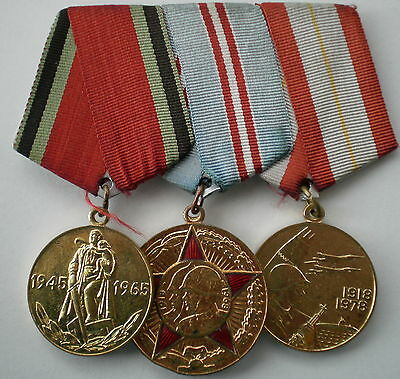 3 USSR SOVIET Russian Medal Set on Suspension 50 & 60 Year for Armed Forces etc