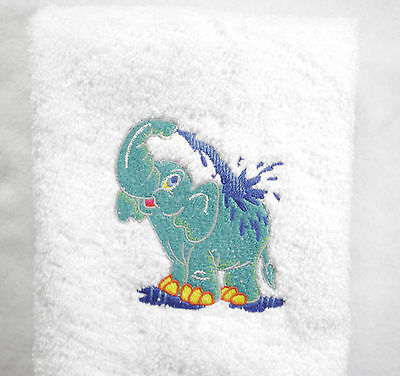 Personalized Elephant Splashing Water  White Embroidered Hand Towel 100/% Cotton