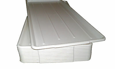 QTY (12) 10 x 30 WHITE  PLASTIC MEAT / DISPLAY TRAYS USDA APPROVED