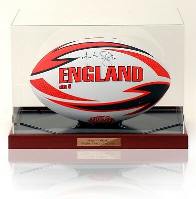 MARTIN OFFIAH hand signed England Ball Rugby Ball AFTAL Photo Proof COA