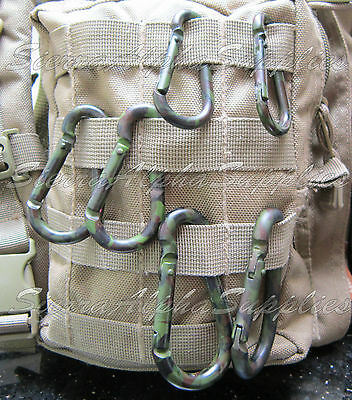 NEW MIL-COM MILITARY STYLE CAMO ALUMINIUM CARABINERS,60mm,70mm,80mm,WEBBING HOOK