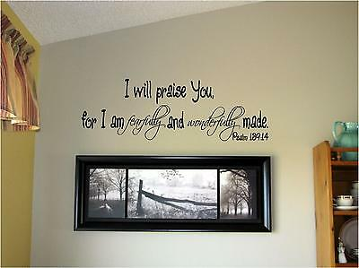 I will praise you for I am Vinyl Wall Decal Art Decor Letters Inspirational