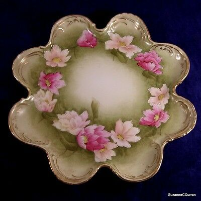 Royal Bayreuth PT Germany Hand Painted Pink Yellow Floral Lobed Dresser Tray