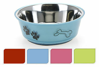 Medium Stainless Steel Dog Pet Feeding Water Bowl Rubber Base - 4 Colours