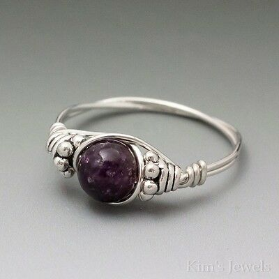Lepidolite Bali Sterling Silver Wire Wrapped Bead Ring ANY size
