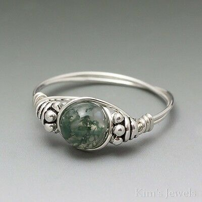Moss Agate Bali Sterling Silver Wire Wrapped Bead Ring ANY size