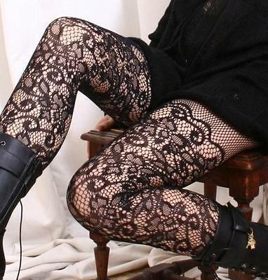 Vintage French Floral Lace Crochet Pattern Mid-Thigh Pantyhose Hosiery Tights