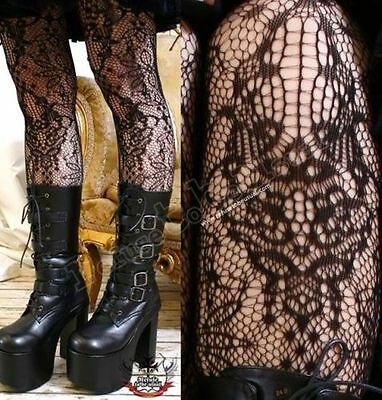 Gothic Noir Lolita Vintage French Lace Crochet Pattern Fashion Tights Pantyhose
