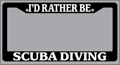 Trident White Plastic Auto Car License Plate Frame I'd Rather Be Diving