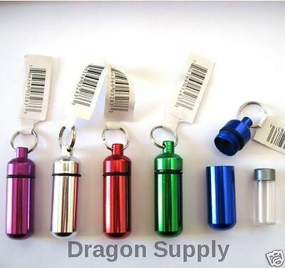 New 5PC  Small Pill / ID Holder KeyChain ( Assorted Colors )