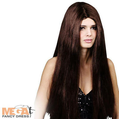 Classic Long Brown Straight Wig Fancy Dress Ladies Adult Costume Accessory New