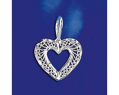 Sterling Silver Heart Pendant Italian Filigree Love Charm Solid 925 Italy New
