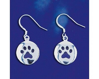Sterling Silver Puppy Paw Dangle Earrings I Love My Dog Paws Solid 925 Italy New