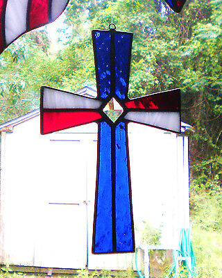 Red White & Blue Stained Glass Cross with glass bevel Patriotic July 4h AMERICA