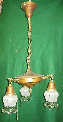 Antique Victorian Brass Chandelier 3 Light Fixture  # 539-12