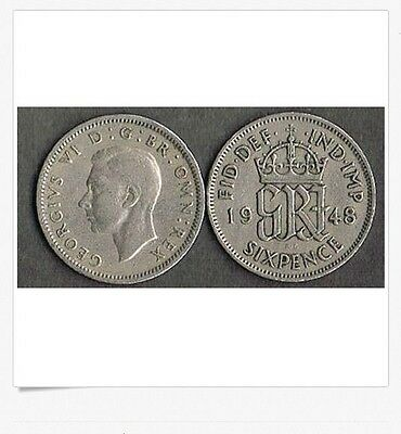 Lot Of 7 British Wedding Sixpence George Vi 1948 Uk England - Blowout Price