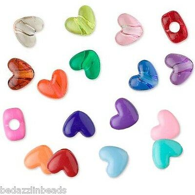 Lot of 100 Mixed Assortment Plastic Acrylic 12mm Heart Pony Beads with Big Hole