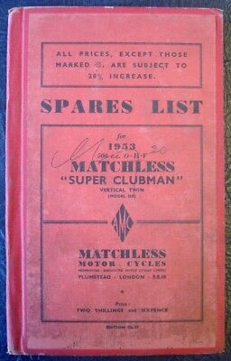 Matchless 500Cc Ohv - Hardback, Illustrated Motorcycle Spares List - 1953 #cl-27