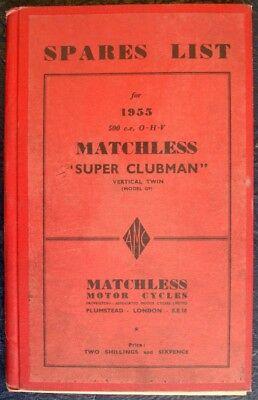 Matchless 500Cc Ohv - Hardback, Motorcycle Spares List - 1955