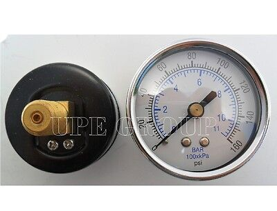 "New air pressure gauge air compressor hydraulic 2"" face 0-160 back mnt 1/4"" npt"